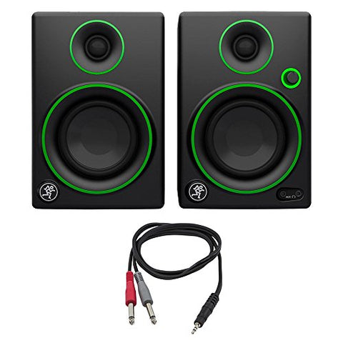 Mackie CR3 Series 3 inch Creative Reference Multimedia Monitors Pair with 1/8 TRS Male to Two 1/4 TS Male Cable, 3 Feet