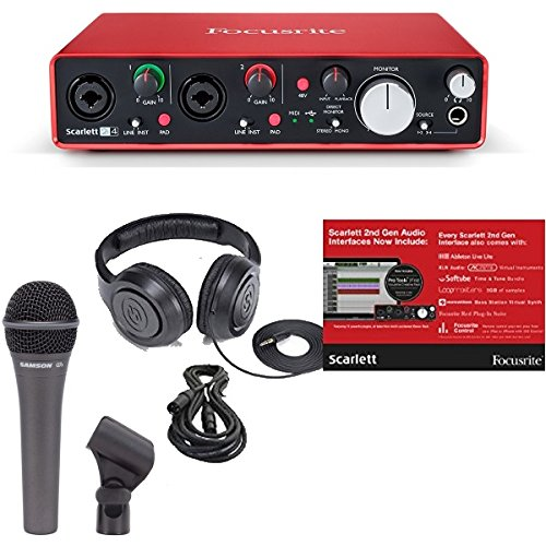 Focusrite Scarlett 2i4 (2ND GEN) 2 In/4 Out USB Recording Audio Interface  Bundle with Dynamic Handheld Microphone, Clip, XLR Cable and Studio