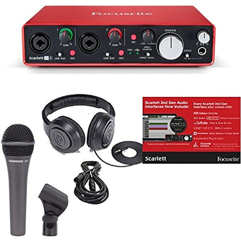 Focusrite Scarlett 2i4 (2ND GEN) 2 In/4 Out USB Recording Audio Interface Bundle with Dynamic Handheld Microphone, Clip, XLR Cable and Studio Headphones