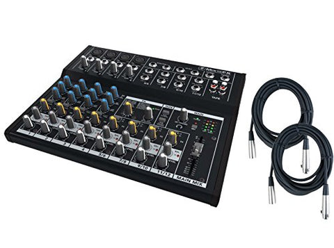 Mackie Mix Series Mix12FX 12-Channel Effects Mixer bundled with 2 Free 20' XLR Cables