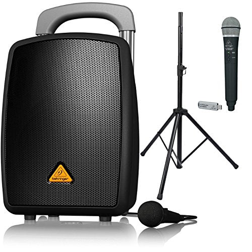Behringer EUROPORT MPA40BT-PRO All-in-One Portable PA System with Bluetooth, ULM300-USB Wireless Handheld Mic and Speaker Stand Bundle