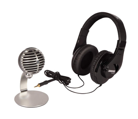 Shure Mobile Recording Kit, Grey, Black, Podcast (MV5/A-240 BNDL)