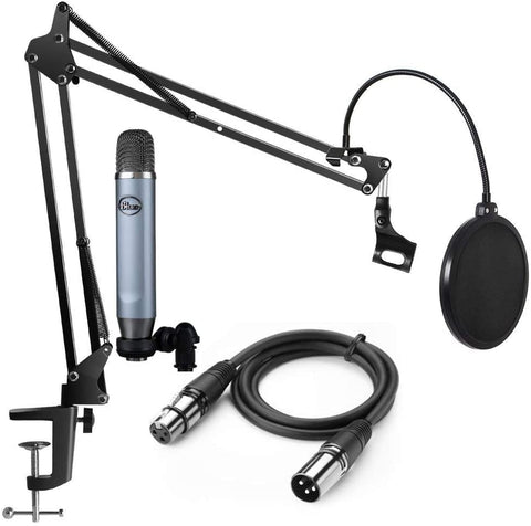 Blue Microphones Ember Condenser Microphone Podcast Recording bundle with Gooseneck Pop Filter, Boom Arm and XLR Cable