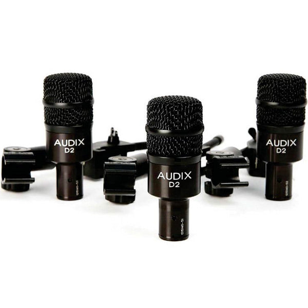 Audix D2 Trio offer featuring (3) D2 mics, (3) DVICE and (3) P1 mic pouches packaged together as a complete tom-miking solution