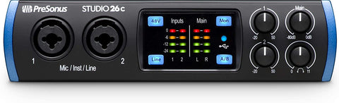 PreSonus Studio 26c 2x4, 192 kHz, USB-C Audio Interface, 2 Mic Pres-4 Line Outs