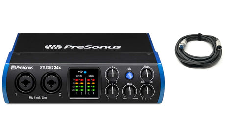 Presonus STUDIO 24C USB C Audio MIDI Interface 2 in 2-out, 24-bit 192kHz and Free xlr Cable