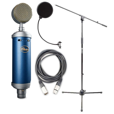 Blue Bluebird Microphone Bundle with Mic Boom Stand, XLR Cable and Pop Filter Popper Stopper (Refurb)