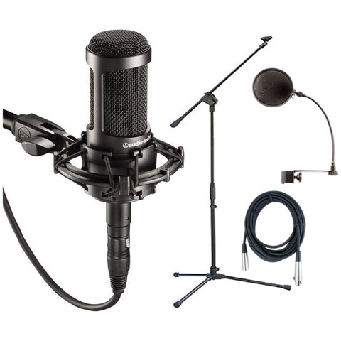 Audio Technica AT2035 Large Diphragm Condenser Microphone w/Shock Mount, Pop Filter, Mic Cable, and Mic Stand