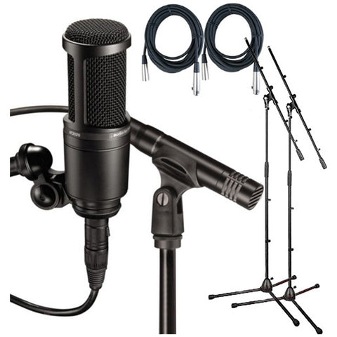 Audio Technica AT2041SP Studio Pack w/Mount , Clamp Sonar LE, 2 20' Mic Cables, 2 Boom Stands