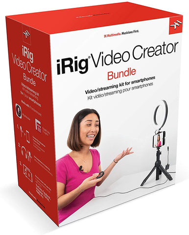 IK Multimedia iRig Video Creator Bundle - smartphone lavalier microphone, camera stand and LED ring light. Great for Social Media Streaming, Videos and Podcasting