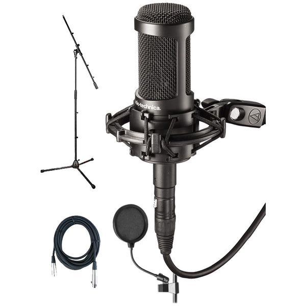 Audio Technica AT2050 Studio Condenser Mic Bundle w/Pop Filter, Mic Cable & Boom Stand