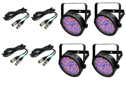 4) Chauvet DJ SlimPar 56 LED Lighs + 4) DMX Cables