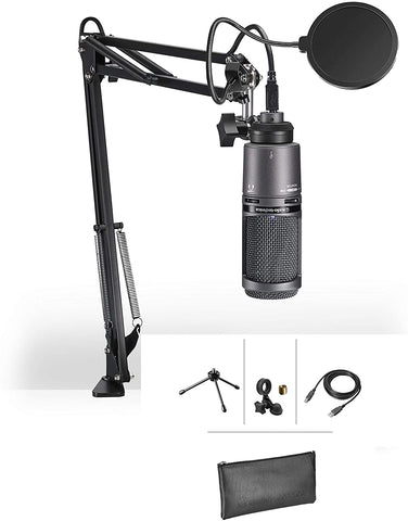 Audio-Technica AT2020USB+ Microphone Podcast USB Recording bundle with Gooseneck Pop Filter, Boom Arm and USB Cable