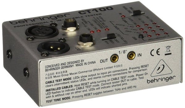 Behringer CABLE TESTER CT100 Professional 6-in-1 Cable Tester