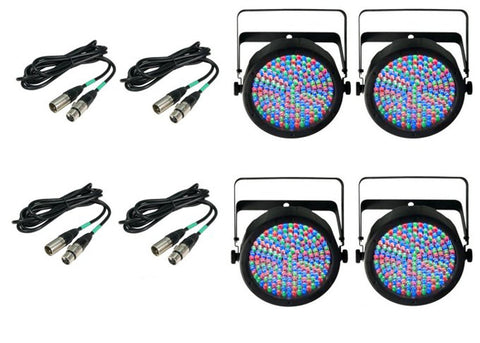 4) Chauvet DJ SlimPar 64 LED Slim Par Can Pro RGB Lighting Effects w/ DMX Cables