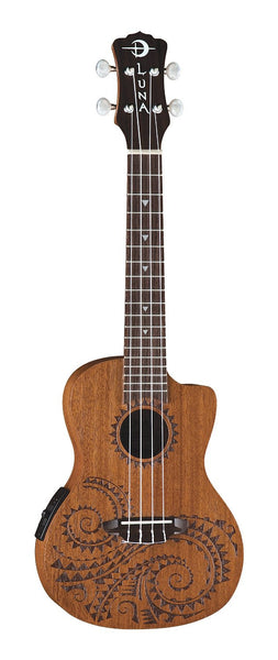 Luna Ukulele Tattoo Concert Acoustic with gigbag, UKE TC MAH (Refurb)