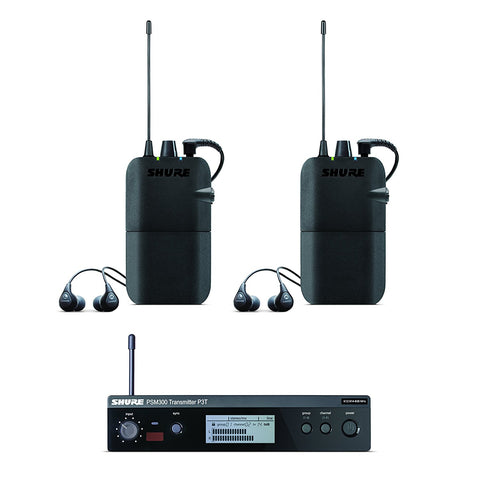 Shure PSM300 Twin Pack includes 2 PSM 300 wireless bodypack receivers, 2 pairs of SE112 Sound Isolating Earphones and a PSM 300 wireless transmitter