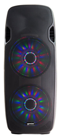 "Gemini AS-215BLU-LT Active Class-AB Dual 15"" Loudspeaker, 250W RMS, 800W Peak, Intergrated MP3 player with Bluetooth, Sound activated LEDS with on/off switch"