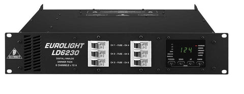 Behringer EUROLIGHT LD6230 Professional 6-Channel 10 A Dimmer Pack with DMX and Analog Control