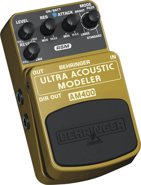 Behringer ULTRA ACOUSTIC MODELER AM400 Ultimate Electric-to-Acoustic Guitar Modeling Effects Pedal