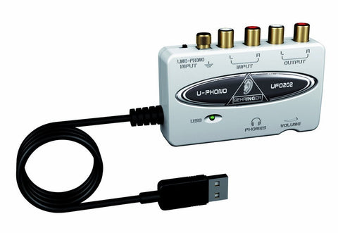 Behringer U-PHONO UFO202 Audiophile USB/Audio Interface with Built-in Phono Preamp for Digitalizing Your Tapes and Vinyl Records