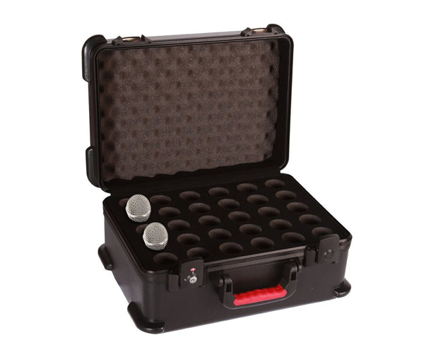 Gator ATA Molded Case w/ Drops for 30 Mics; TSA Latches