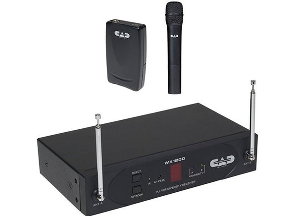 CAD WX1220: VHF Wireless Combo System - Handheld and Bodypack (Includes WXGTR, WXHW and WXLAV)
