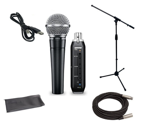 Shure SM58 USB Microphone Bundle with X2U XLR-to-USB Audio Interface, MIC Boom Stand and XLR Cable