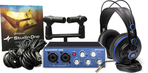 PreSonus AudioBox Stereo Recording Bundle w/2 Mics, HD7 Headphones, M7 Mic, S1 Artist