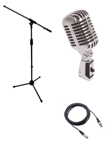 Shure 55SH Microphone Bundle with Mic Boom Stand and XLR Cable
