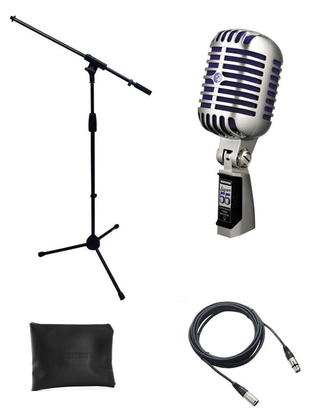 Shure Super 55 Microphone Bundle with Mic Boom Stand and XLR Cable