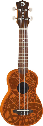 "Luna Ukulele Soprano ""Peace Love Uke"" - Satin Finish"