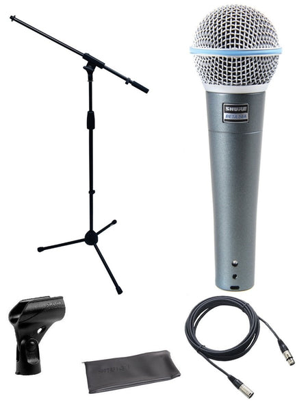 Shure Beta 58a Microphone Bundle with Mic Boom Stand and XLR Cable