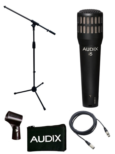 Audix I5 Microphone Bundle with Mic Boom Stand and XLR Cable