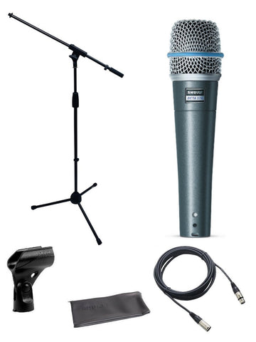 Shure Beta 57a Microphone Bundle with Mic Boom Stand and XLR Cable