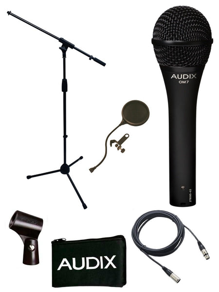 Audix OM7 Microphone Bundle with Mic Boom Stand, XLR Cable and Pop Filter Popper Stopper