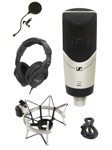 Sennheiser MK-4 STUDIO Limited Edition MK4 Mic Bundle with Headphones, Shockmount, XLR Cable and Pop Filter Popper Stopper