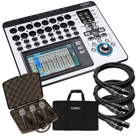QSC TouchMix-16 Compact Digital Mixer STAGE KIT w/ Mic 3 Pack & Cables