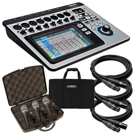 QSC TouchMix-8 Compact Digital Mixer STAGE KIT w/ Mic 3 Pack & Cables