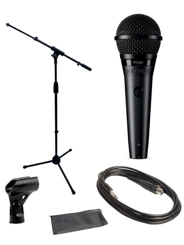 "Shure PGA58 Microphone Bundle with MIC Boom Stand and 1/4"" Cable"