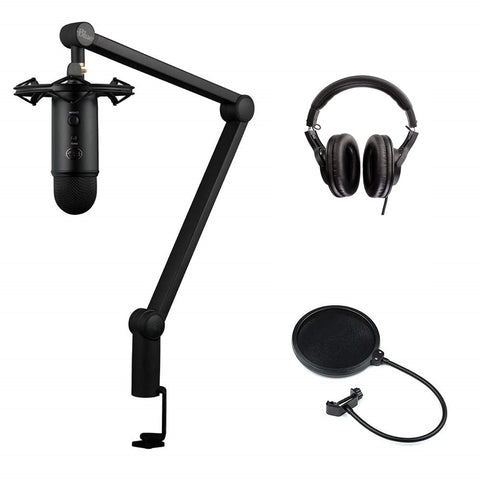 Blue Yeticaster Studio Podcast/Streaming Bundle with Multi-Track Recording-Mastering Software (Blackout, shockmount, Compass broadcast boom arm), Headphones & Pop Filter Bundle