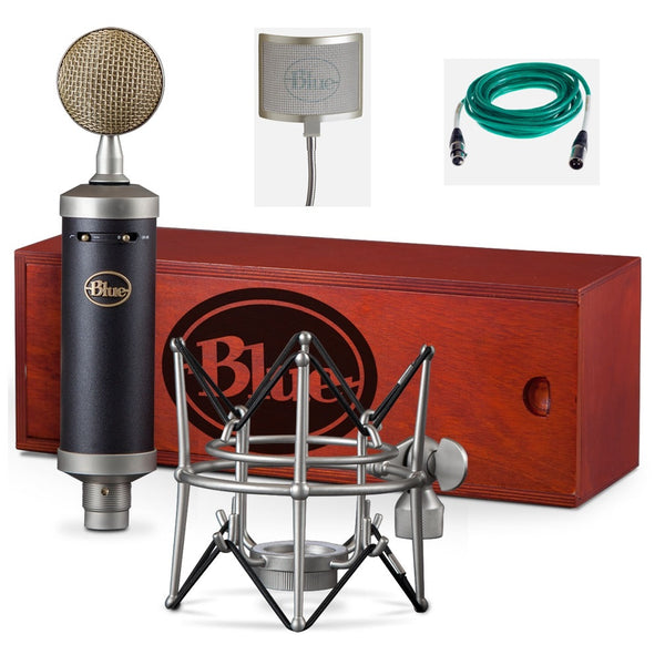 Blue Baby Bottle SL Microphone Bundle with Quad xlr cable and the Pop Filter