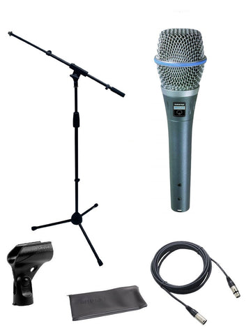 Shure Beta 87A Supercardioid Condenser Vocal Microphone Bundle with Mic Boom Stand, XLR Cable, clip, bag