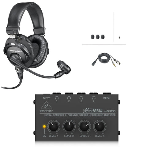 Audio-Technica BPHS1 Broadcast Stereo Headset with Dynamic Boom Mic and Headphone Amp Bundle