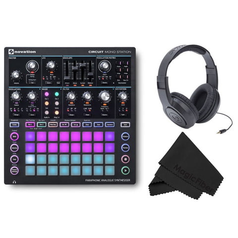 Novation Circuit Mono Station Paraphonic Analog Synthesizer w/ Microfiber Cloth and Headphones Bundle (Refurb)