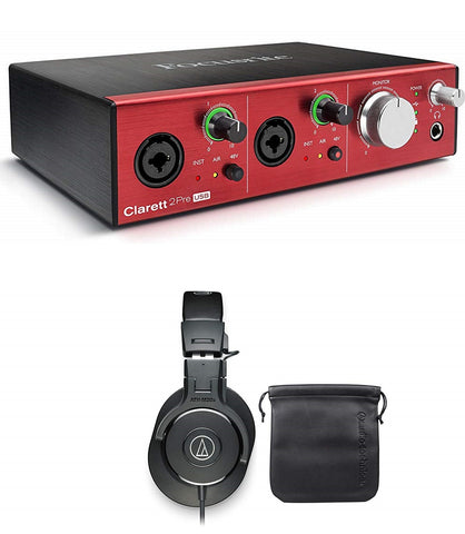 Focusrite CLARETT 2PRE 10-In/4-Out USB Interface With 2 Clarett Mic Preamps and Very Low Latency + Audio Technica ATH-M30X Professional Studio Monitor Collapsible Headphones Bundle