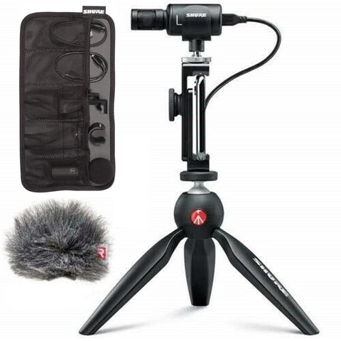 Shure MV88+ Premium Digital Stereo Condenser Microphone Video Kit with Manfrotto PIXI Mini Tripod + Shure Rycote Windjammer for Shure Motiv MV88 Digital Stereo Microphone