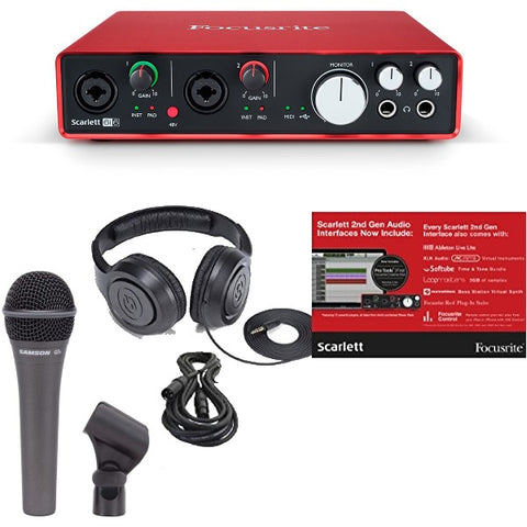 Focusrite Scarlett 6i6 6 In/6 Out USB 2.0 Audio Interface Bundle with Hypercardioid Dynamic Handheld Mic, Mount, Bag, XLR Cable and Studio Headphones