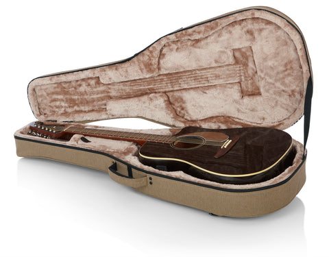 Gator Cases Transit Series Lightweight Polyfoam Dreadnaught Style Acoustic Guitar Case (GTR-DREAD12-TAN)