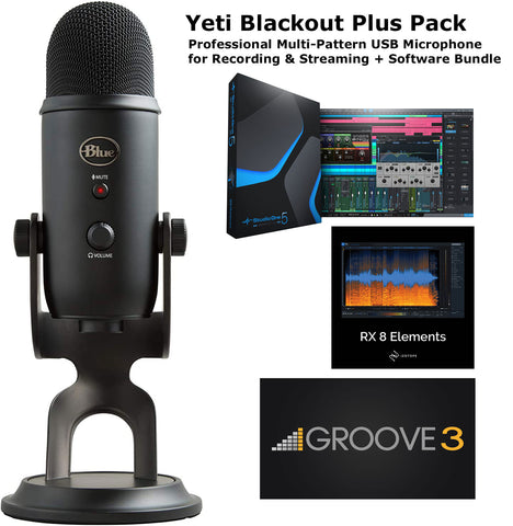 Blue Yeti Blackout Plus Pack Multi-Pattern USB Mic for Recording & Streaming + Software Bundle